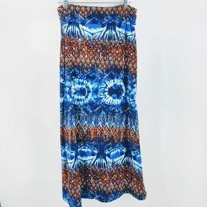Hot Kiss Blue Tie Dye Tribal Print Maxi Skirt